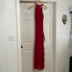 Wedding guest dress, red, fitted
